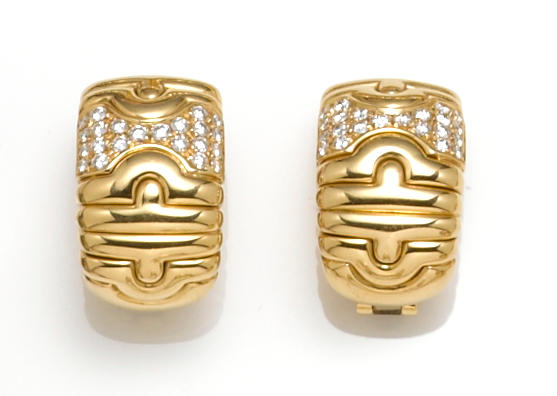 "A pair of diamond ""Parentesi"" earclips, Bulgari"