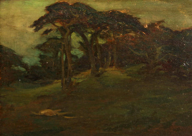 Charles Dickman (American, 1863-1943) Cypress on rolling hills 16 x 22in