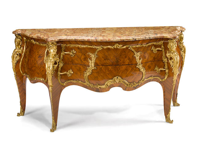 An important and fine Louis XV style gilt bronze mounted marquetry commode<BR />Paul Sormani<BR />fourth quarter 19th century
