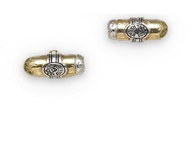 A pair of gilt-silver cigar motif cufflinks