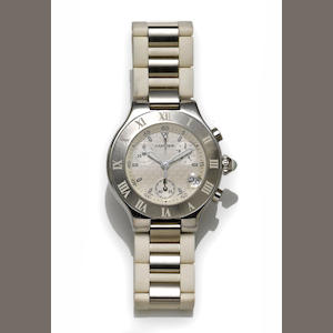 Cartier. A stainless steel chronograph strap wristwatch with date