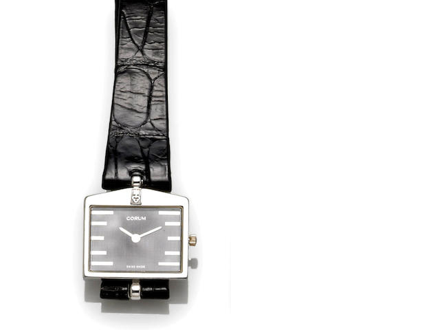 Corum. An 18k white gold Rolls Royce radiator wristwatch