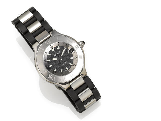 Cartier. A stainless steel automatic strap wristwatch with date