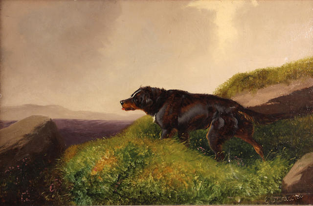 G. Garland (American) Dog on a hill 12 x 18in