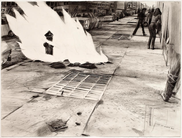 Robert A. Birmelin (1933-2003) Fire on Seventh Avenue, 1981 22 3/8 x 29 7/8in. (57.6 x 75.8cm)
