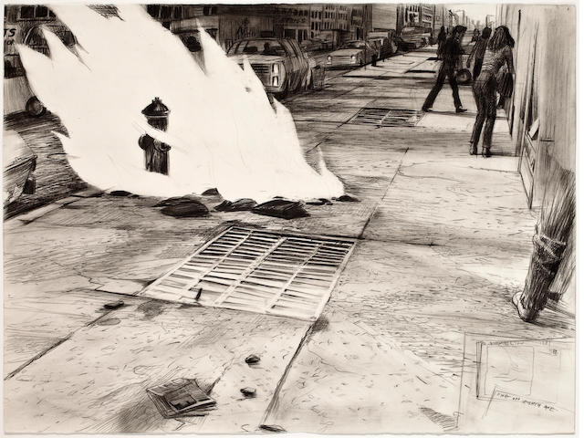 Robert Birmelin, Fire on Seventh Avenue, 1981, 22 x 29 3/4in.