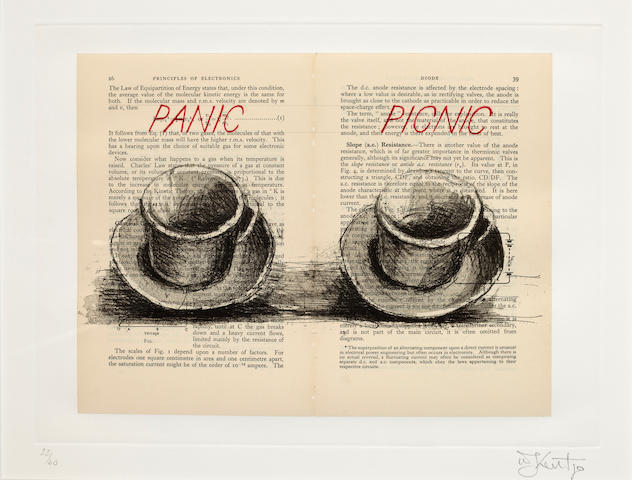 William Kentridge (born 1955) Panic Picnic (from Sleeping on Glass), 1999 image: 9 3/4 x 13 1/8in. (24.7 x 33.3cm) sheet: 13 3/4 x 19 3/4in. (34.9 x 50.1cm)