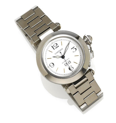 Cartier. A stainless steel automatic bracelet wristwatch with date