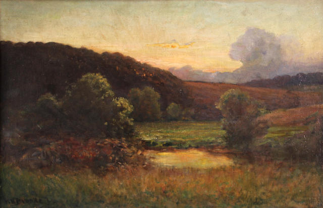 Richard Norris Brooke (American, 1847-1920) A pond with rolling hills beyond 20 x 30 1/4in