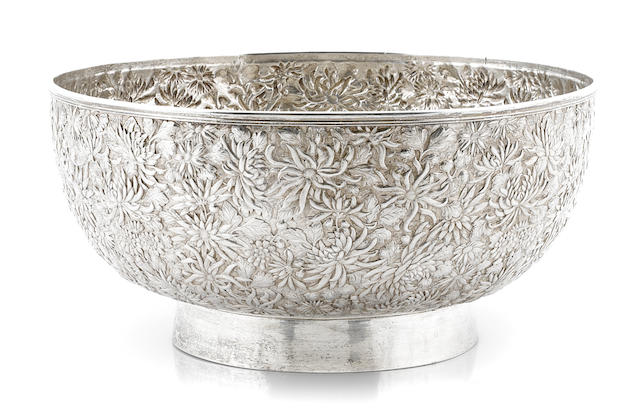 A Chinese export silver center bowl  Wang Hing, Hong Kong, late 19th / early 20th century