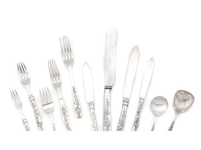 "A Chinese Export silver assembled flatware service, Circa 1900, makers Wang Hing & ""S.W""., 143 pcs (count to be confirmed), one fork in need of repair"
