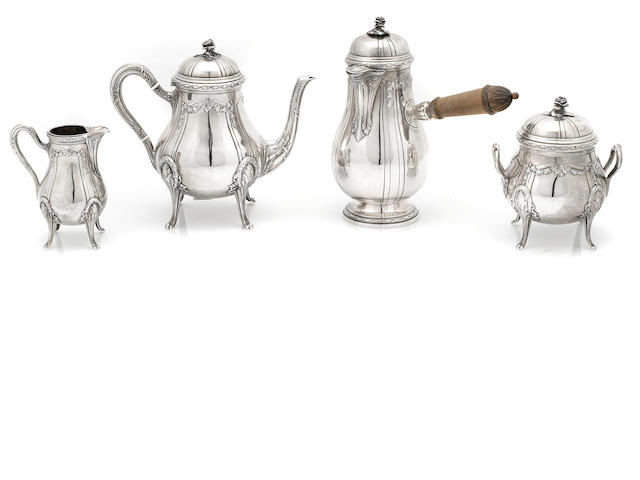 A French first standard coffee and chocolate service, Emile Puiforcat, Paris, Circa 1900