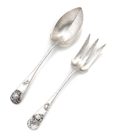 A Gorham sterling silver 'Antique Hammered' salad serving set, with applied decoration, circa 1880