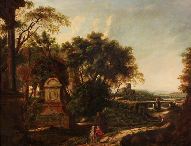 Italian School, 18th century, Travelers in a landscape, oil on canvas