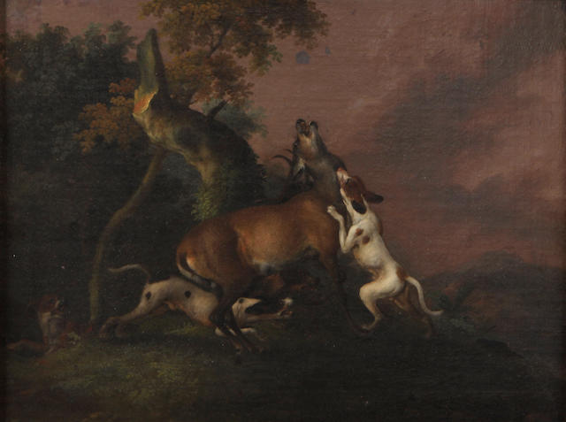 Attributed to Wenzel Ignaz Prasch (German, 1708-1761) Dogs with a stag 12 x 15 3/4in