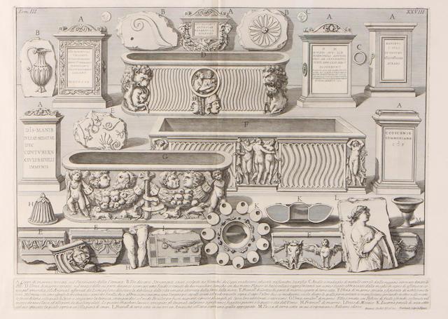 Giovanni Battista Piranesi (Italian, 1720-1778); A. Cippi di marmo, trovati sul Pavimento della Camera..., pl. XXVIII, from Le Antichità Romane; Vue desrestes dela Delle du Temple de Neptune, pl. XV, from Différentes vues...de Pesto; (2)