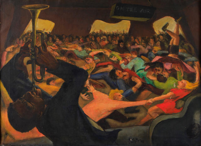 Dick (Richard) Swift (American, 1918-2010) Pied Piper (Dance recording session), 1945 22 x 29 3/4in