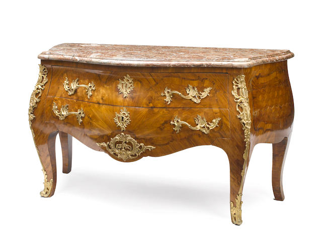 A Louis XV gilt bronze mounted and parquetry commode<BR />third quarter 18th century <BR />VET TO FIND Indistinct stamp.