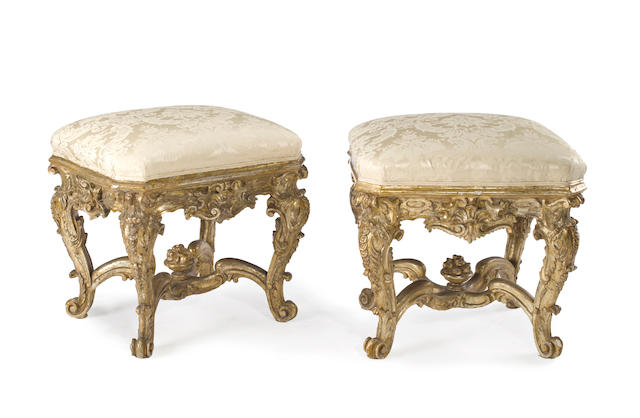 A fine and rare pair of Venetian Rococo giltwood tabourets third quarter 18th century