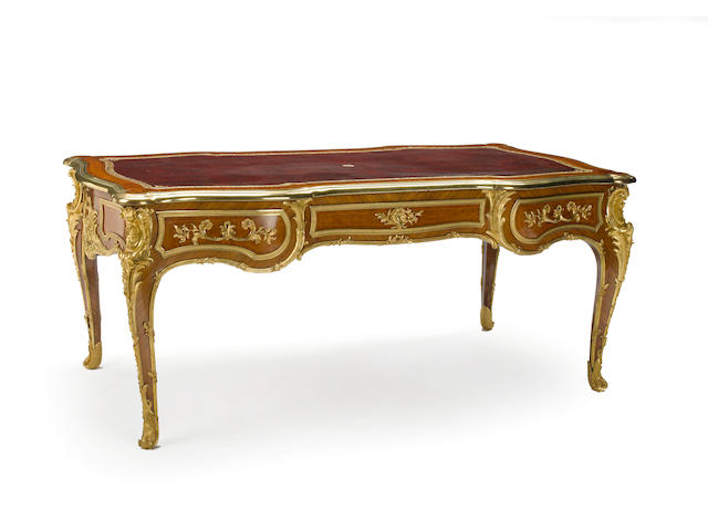 An important Louis XV style gilt bronze mounted bureau plat <BR />Bearing stamp F. Linke<BR />late 19th century RESEARCH MAKER AND wood CHECK MOUNTS