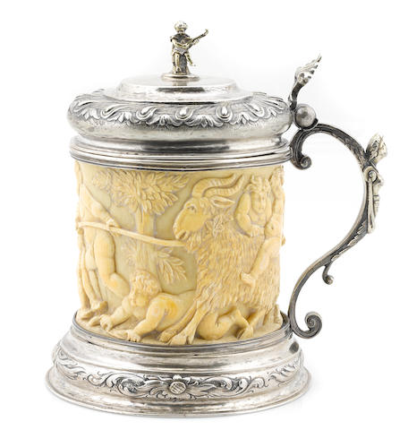 A Scandinavian silver-mounted carved ivory tankard, probably Danish, second half 19th century