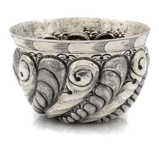 """A German parcel-gilt silver tumbler cup Struck with town mark similar to that of Augsberg, and evidently unrecorded maker's mark of """"K"""" and down pointing arrow, probably 17th / 18th century"""