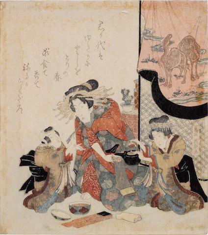 Keisai Eisen (1790-1848)<BR />Two surimono