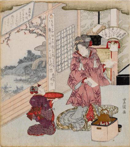 Utagawa Toyokuni (1769-1825)<BR />One surimono