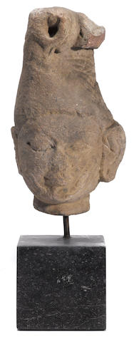 A red standstone head of a rishi Rajasthan or Central Indian, 10th/11th century