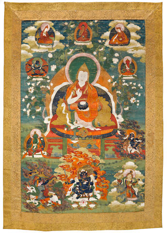 A thangka of the Fifth Dalai Lama  Distemper on cloth, Tibet, 17th/18th century