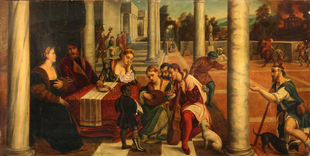 Italian School, 19th Century Elegant figures playing music with a building on fire in the distance 11 x 21in