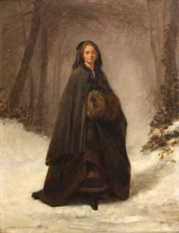 Pierre Edouard Frère (French, 1819-1886) A woman in the snow 16 x 12 3/4in
