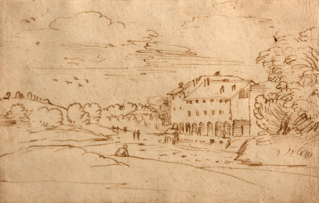 Circle of Annibale Carracci (Bologna 1560-1609 Rome) A landscape with a building and figures 5 x 7 3/4in
