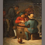 Manner of David Teniers A tavern interior 7 x 6in