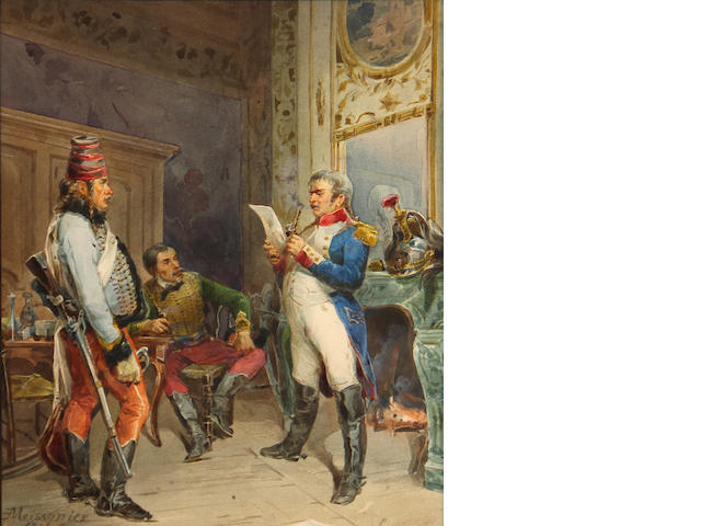 French School Military officers in an interior 10 1/4 x 8in