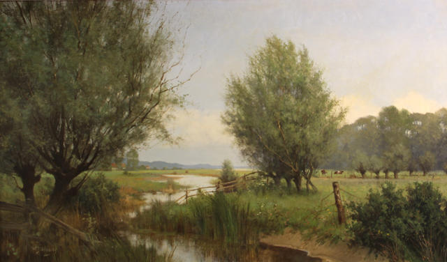 Willem Jacobus Alberts (Dutch, born 1912) A polder landscape with cattle in the distance 24 x 39 1/4in