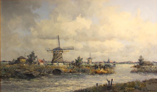 Marius de Jongere (Dutch, 1912-1977) Windmills by Zevenhuisen, South Holland 23 3/4 x 39 1/2in