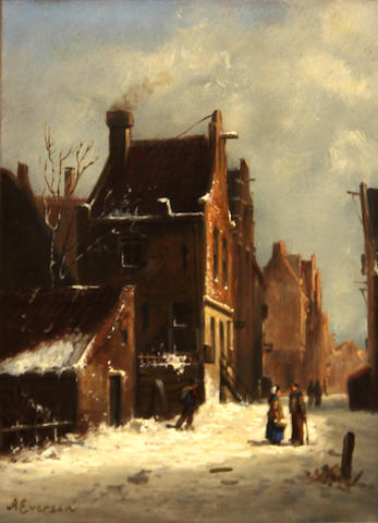 Follower of Adrianus Eversen (Dutch, 1818-1897) A Dutch street in the snow 9 x 7in