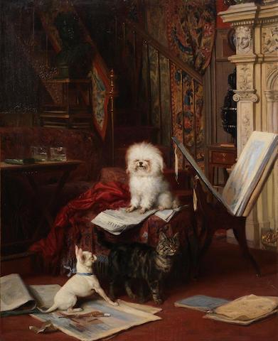 Louis Eugène Lambert (French, 1825-1900) The intruder 31 x 25 in. (79 x 63.5 cm.)