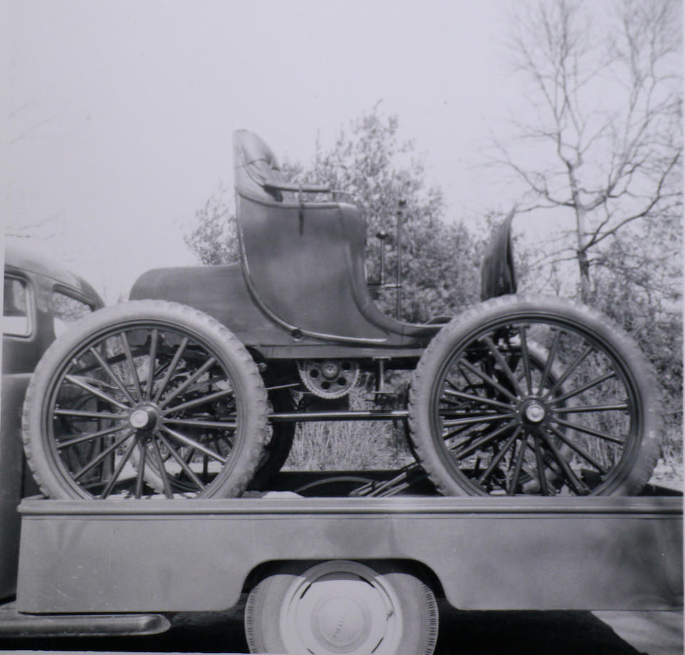 The world's oldest four-cylinder car, the oldest American car ever offered at auction, the oldest American gasoline car in private ownership.  The first Buffum automobile produced, Buffum family ownership for nearly 40 years, ex- Princeton Auto Museum collection,,1895 Buffum Four-Cylinder Stanhope  Chassis no. 1BUFFUM