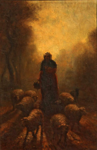 Constant Troyon (French, 1810-1865) A shepherdess with her flock 10 3/4 x 7in