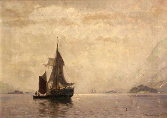 Georg Anton Rasmussen (Norwegian, 1842-1914) Fishing boats in a fjord 18 x 25in