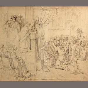 English School, 19th Century The pope preaching in a town in Medieval times 17 1/2 x 20 1/2in