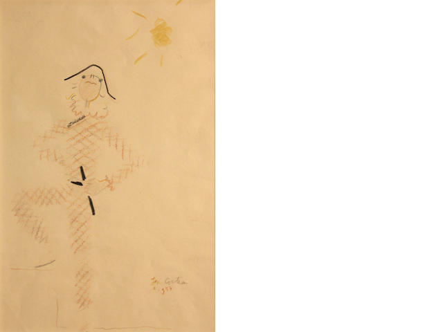 Jean Cocteau, * PENDING AUTHENTICATION * Harlequin figure, colored crayon/pp