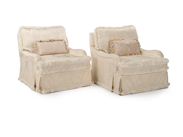 A pair of Contemporary ivory brocade silk upholstered club chairs