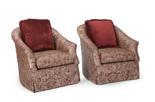 A pair of Contemporary claret and white Fortuny style silk upholstered club chairs