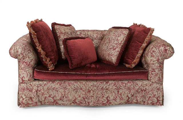 A Contemporary claret and white Fortuny style silk and velvet upholstered sofa