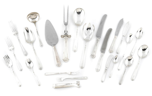 An extensive assembled Gorham sterling silver 'Princess Patricia' pattern flatware service, some pieces monogrammed