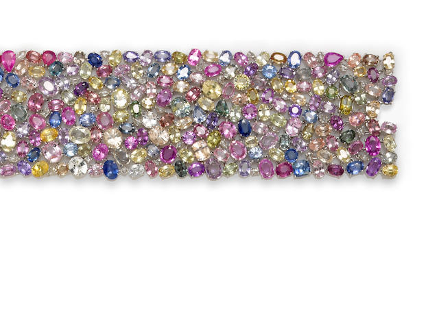 A multi-color sapphire and diamond wide bracelet