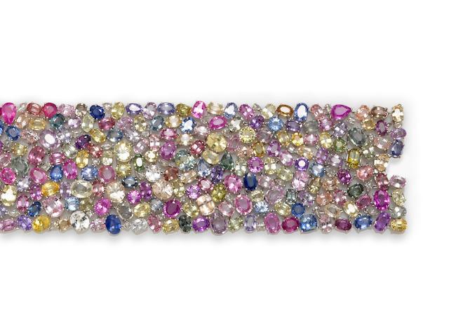 A multi-color sapphire and diamond wide bracelet